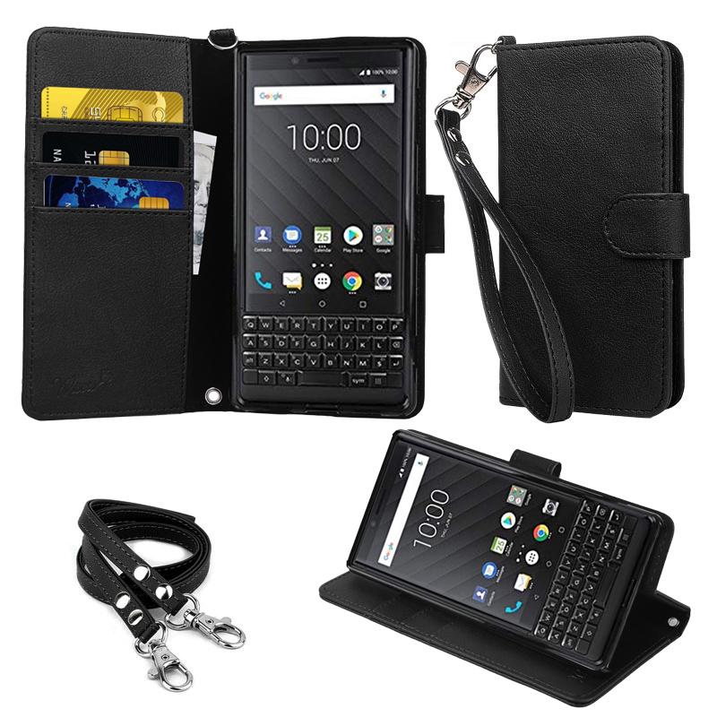 【ストラップ2種付】wisers BlackBerry KEY2 4.5 インチ  [2018 年 新型] スマートフォン スマホ 専用 手帳型 ケース カバー ブラック