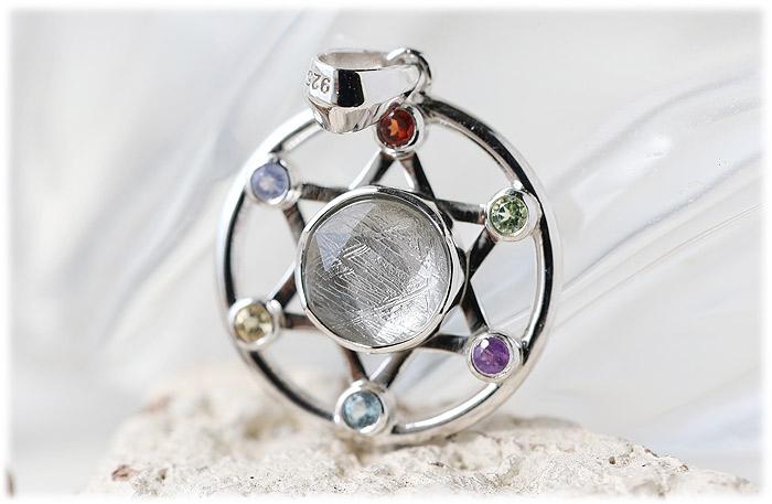 ギベオン六芒星ペンダント(シルバー)【01】石のサイズ9mm【Silver925】
