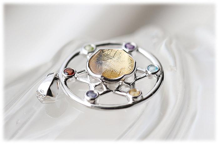 ギベオン六芒星ペンダント(ゴールド)【02】石のサイズ9mm【Silver925】