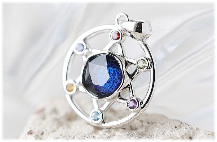 ギベオン六芒星ペンダント(ブルーパープル)【04】石のサイズ9mm【Silver925】