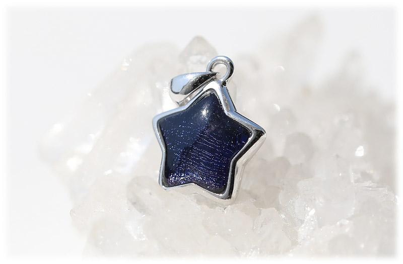 ギベオンスター型ペンダント(ブルーパープル)【02】石のサイズ11mm【Silver925】