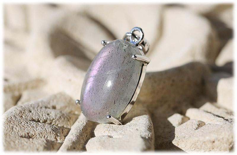ピンクパープルラブラドライトペンダント【01】【Silver925】石のサイズ16.5×10×5mm