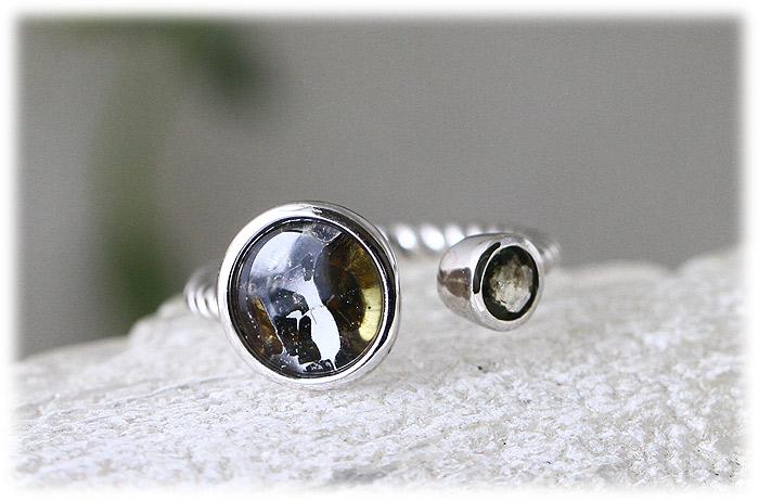ロシア産パラサイト隕石&モルダバイトリング【10号】【Silver925】01
