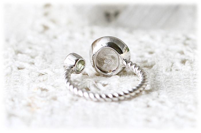 ロシア産パラサイト隕石&モルダバイトリング【10.5号】【Silver925】02