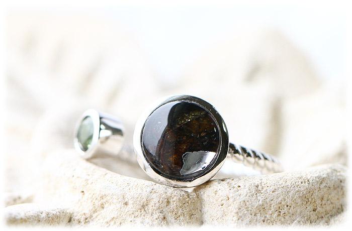 ケニア産パラサイト隕石&モルダバイトリング【12号】【Silver925】02