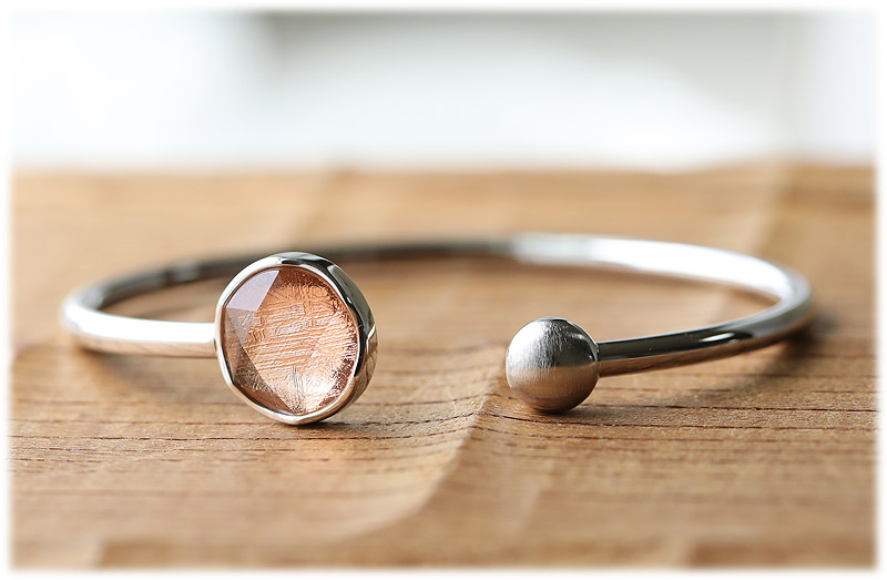 ギベオン六芒星バングル(ローズゴールド)【02】石のサイズ12mm【Silver925】