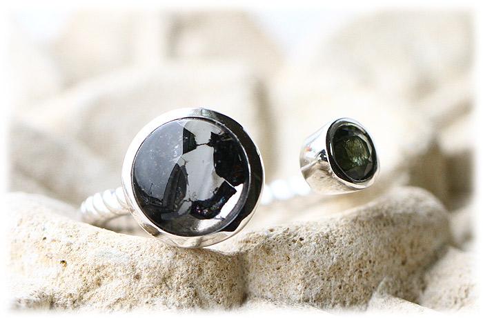 ケニア産パラサイト隕石&モルダバイトリング【12号】【Silver925】03