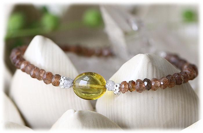 グリーンアンバー&ダイヤモンド&アンダリュサイト ブレスレット 01