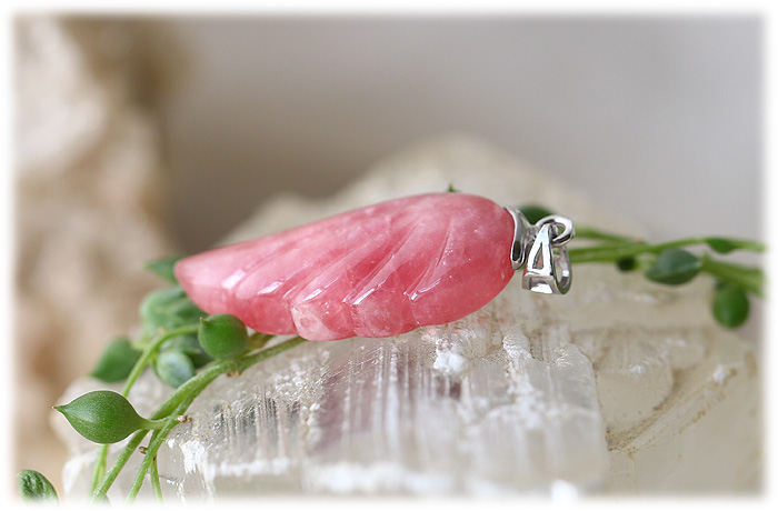 インカローズフェザーペンダント【Silver925】【石のサイズ31×15×8mm】02