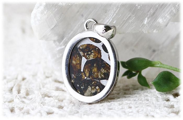 パラサイト隕石ペンダント【Silver925】【石のサイズ16×12×4mm】01
