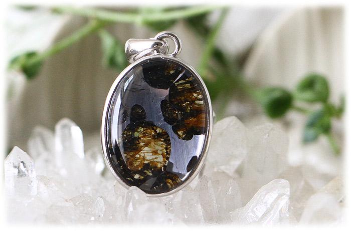 パラサイト隕石ペンダント【Silver925】【石のサイズ16×12×4mm】02