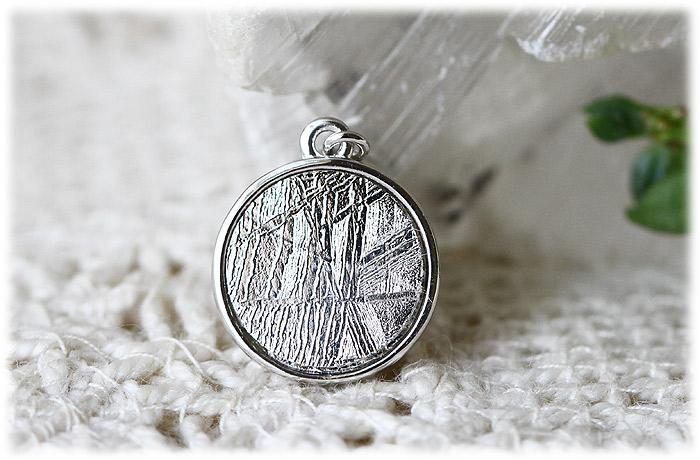 ギベオン&モルダバイトペンダント【Silver925】【石のサイズ10mm・3mm】01