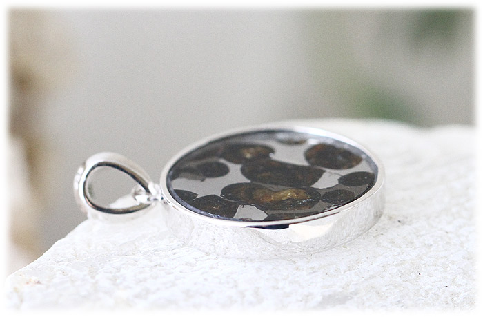 パラサイト隕石ペンダント【フラワーオブライフ】【Silver925】【石のサイズ20×3mm】01