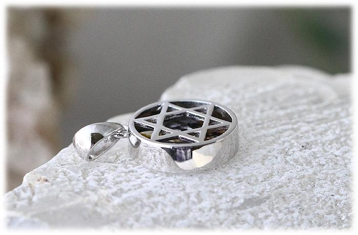 パラサイト隕石ペンダント【02】【六芒星Silver925】石のサイズ13mm