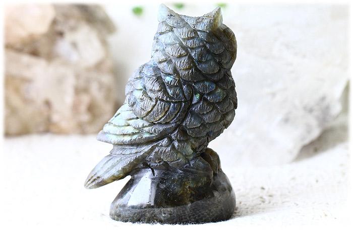 ラブラドライトフクロウ【石のサイズ87×62×38mm】07