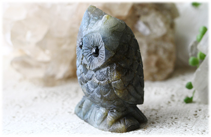 ラブラドライトフクロウ【石のサイズ77×62×40mm】11