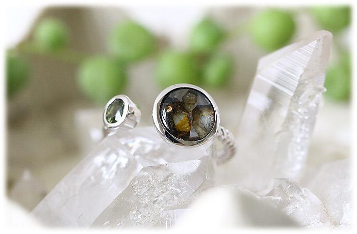 パラサイト隕石&モルダバイトリング【10号】【Silver925】001