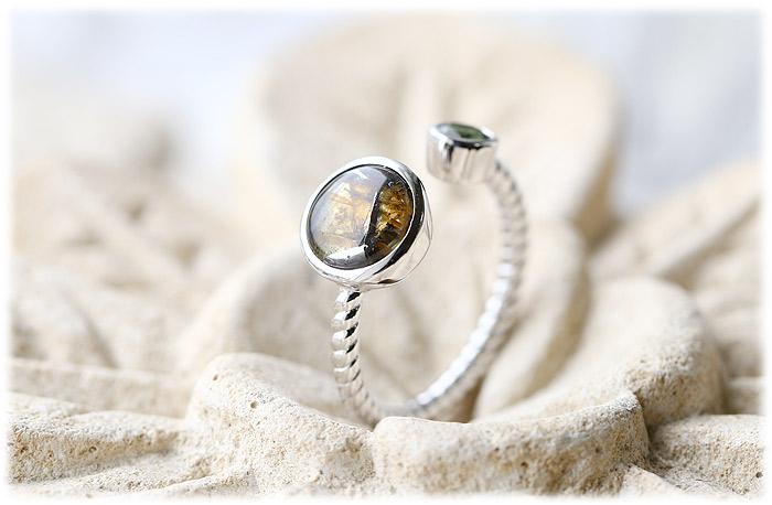 パラサイト隕石&モルダバイトリング【15号】【Silver925】002