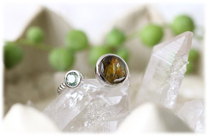 パラサイト隕石&モルダバイトリング【12号】【Silver925】003
