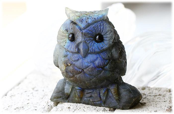 ラブラドライトフクロウ【石のサイズ85×84×53mm】05