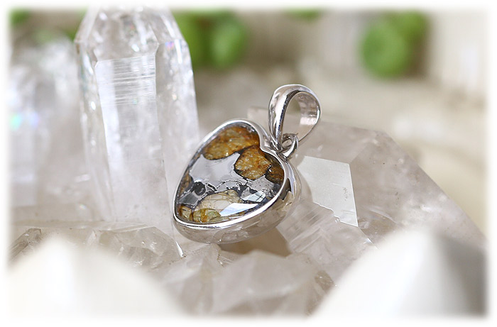 パラサイト隕石ペンダント【ハート型】【Silver925】【石のサイズ12mm】01