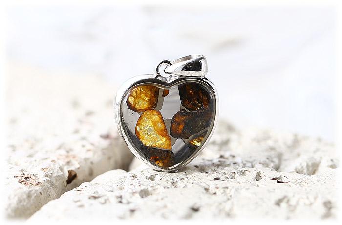 パラサイト隕石ペンダント【ハート型】【Silver925】【石のサイズ15mm】02