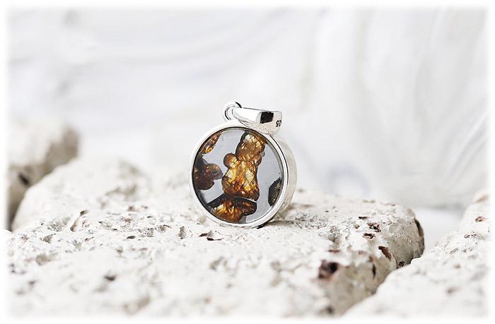 パラサイト隕石ペンダント【03】【六芒星Silver925】石のサイズ13mm