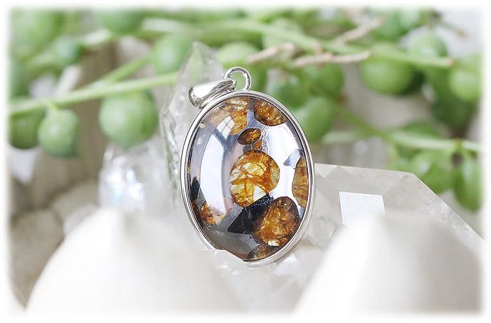パラサイト隕石ペンダント【06】【オーバル型】【Silver925】石のサイズ21×17×5mm