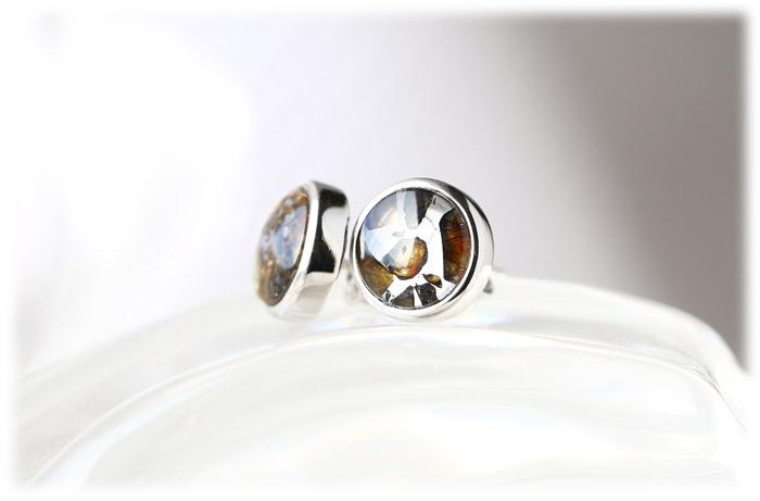 パラサイト隕石ピアス【Silver925】【石のサイズ8mm】02
