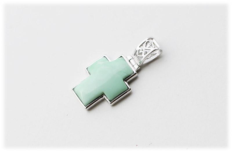 バリサイトクロスペンダント【01】【Silver925】石のサイズ16×12×4mm
