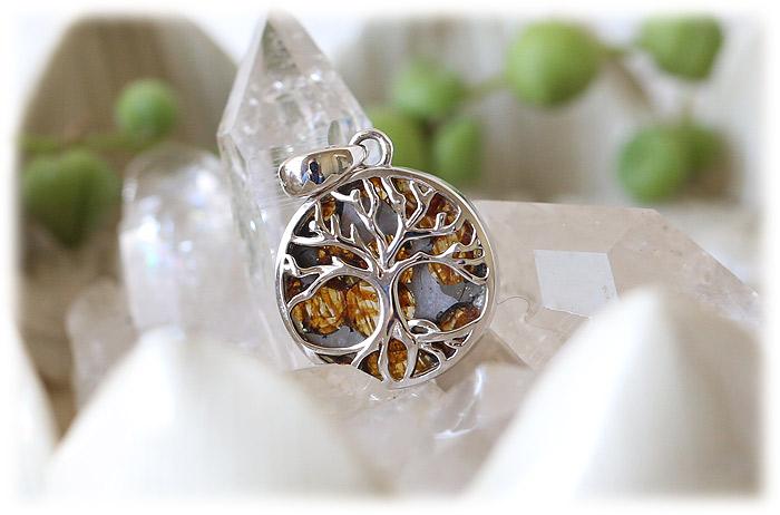 パラサイト隕石ペンダント【生命の樹(Tree of Life)】【Silver925】【石のサイズ16×3.5mm】01