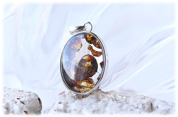 パラサイト隕石ペンダント【03】【オーバル型】【Silver925】石のサイズ21×17×5mm