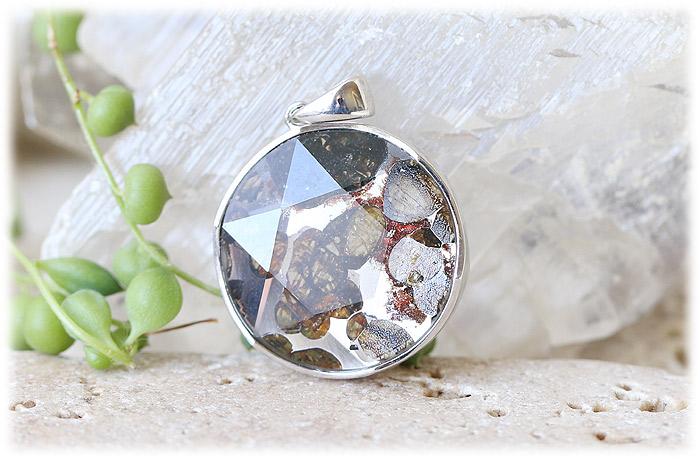 パラサイト隕石ペンダント【六芒星】【Silver925】【石のサイズ27×8mm】04
