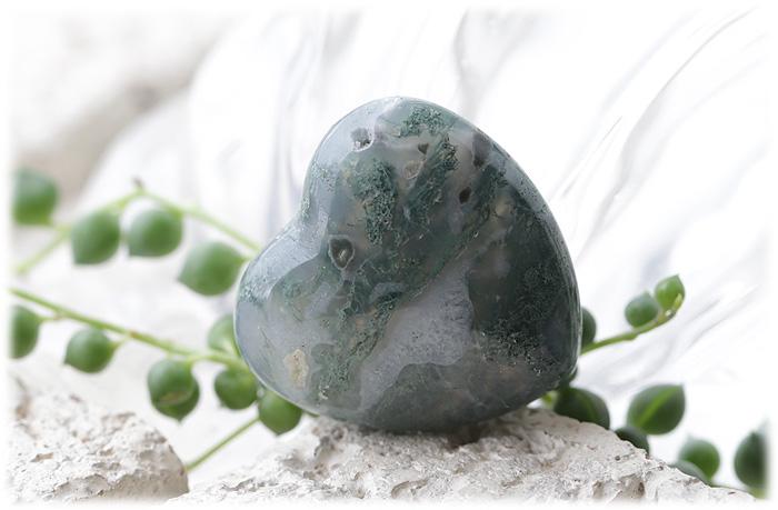 モスアゲートハートストーン【石のサイズ30×30×13.5mm】01