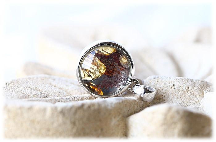 パラサイト隕石ペンダント【Silver925】【石のサイズ12mm】02