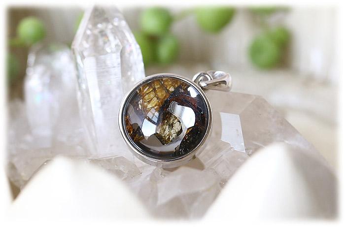 パラサイト隕石ペンダント【Silver925】【石のサイズ14mm】03