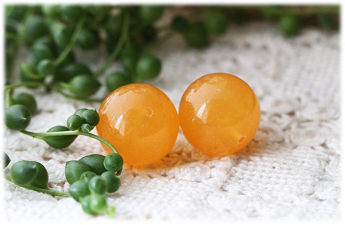 オレンジカルサイト20mmビーズ1粒