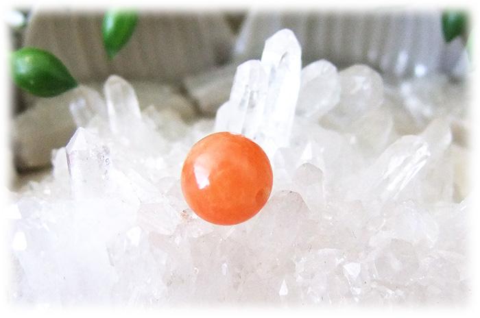 オレンジカルサイト8mmビーズ1粒