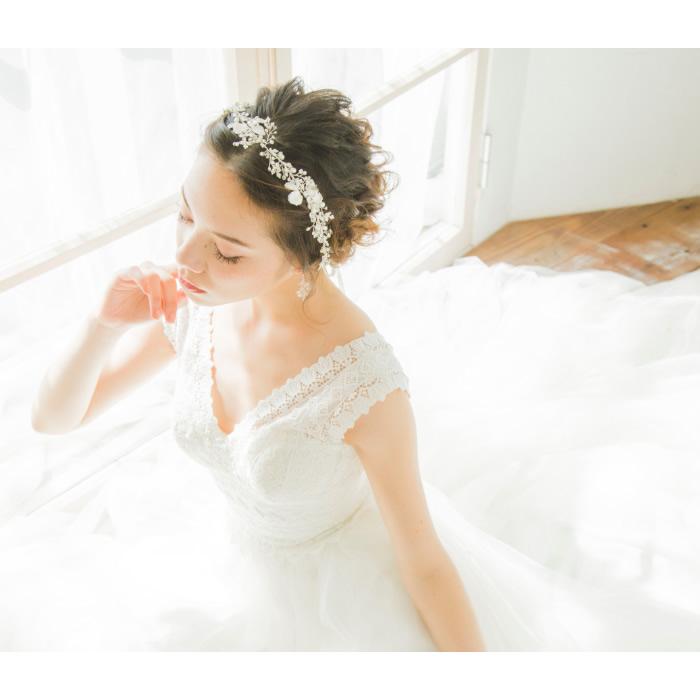 リボンカチューシャ【リーフモチーフと輝くラインストーン H-018,アクセサリー,花嫁★即日出荷可