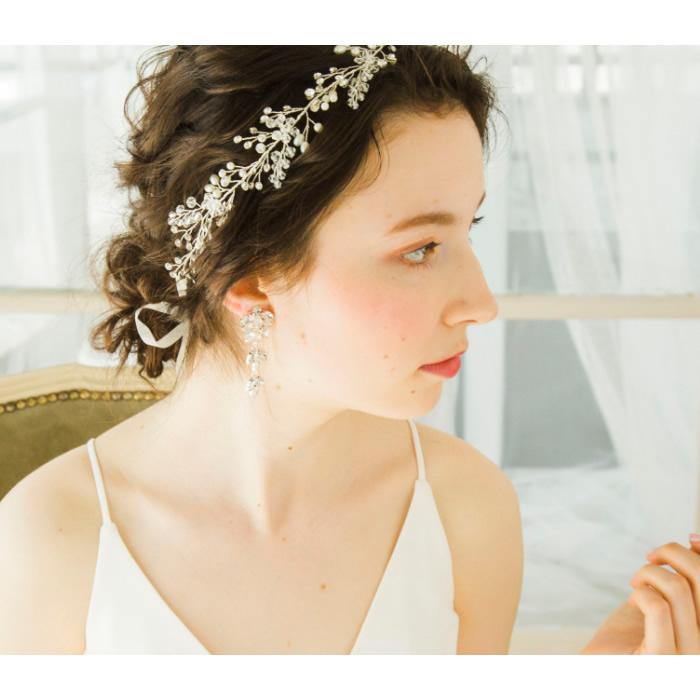 イヤリング【 優しい印象のロングタイプ 】P-056,花嫁,パーティー,演奏会,発表会★即日出荷可