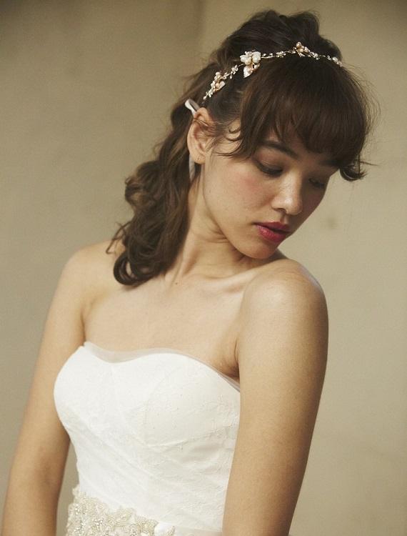 リボンカチューシャ【ゴールドカラー/小さなお花とリボン】H-2942,花嫁,演奏会★即日出荷可