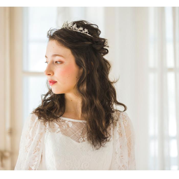 [SALE 30%OFF] ティアラ 【リーフシルエットのラインストーンティアラ】  T-018 *即日出荷可能*結婚式,花嫁,ウェディング,ブライダルアクセサリー