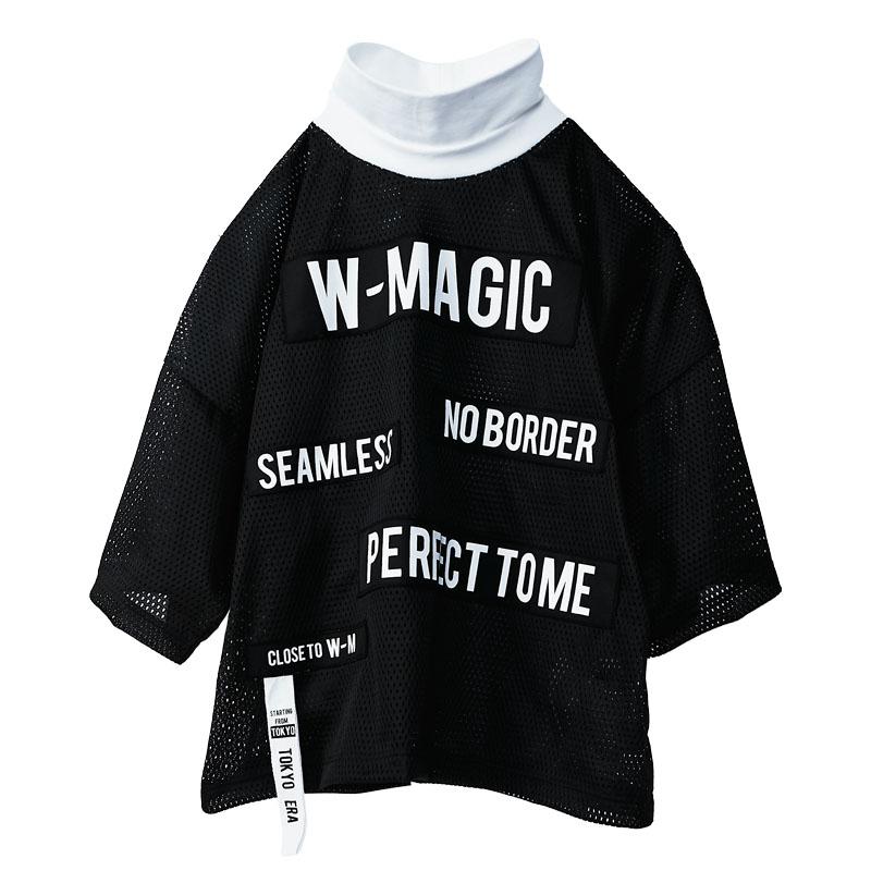 メッセージメッシュオーバーハイネックTシャツ