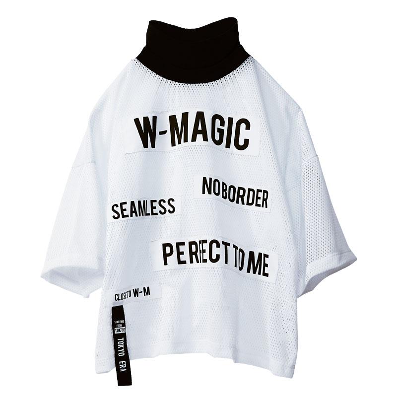 メッセージメッシュオーバーハイネックTシャツ2