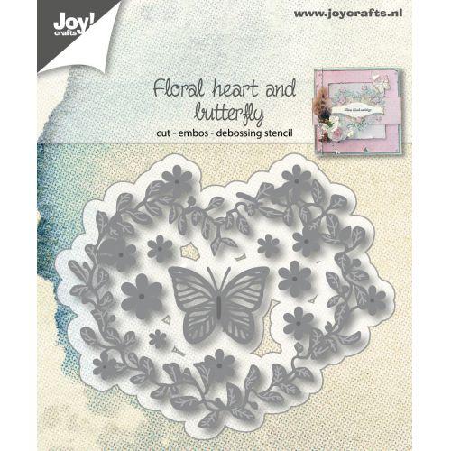 6002-1172/ジョイ・クラフツ/ダイ(抜型)/Flowerhart and butterfly フラワー ハート と 蝶々