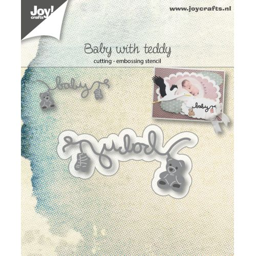6002-1038/Joy! Crafts/ジョイ・クラフツ/ダイ(抜型)/Baby with teddy baby socks and bear テディベア テキスト ライン