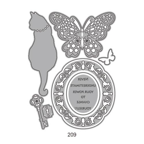 209/WonderHouse/ワンダーハウス/ダイ(抜型)/猫 蝶 鍵 レリーフ