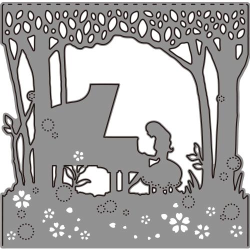 264/WonderHouse/ワンダーハウス/ダイ(抜型)/少女 ピアノ 森