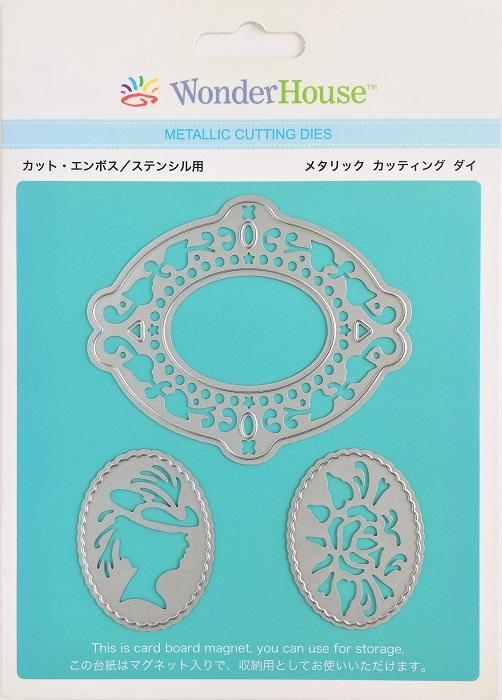 054/WonderHouse/ワンダーハウス/ダイ(抜型)/フレーム カメオ モチーフ 3枚入