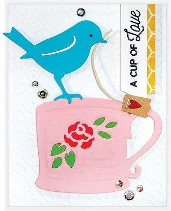【S4-950】/スペルバインダーズ/ダイ(抜型)/ Robin and Rosy Mug ロビンと薔薇マグ